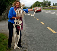 Alexander teacher hitching with Alex the skeleton