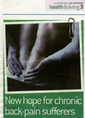 'New hope for chronic back pain sufferers' (Irish Independent, Health and Living, 1st Sept 2008)