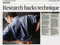 'Research backs technique' (Irish Times HealthPlus, 2nd Sept 2008)